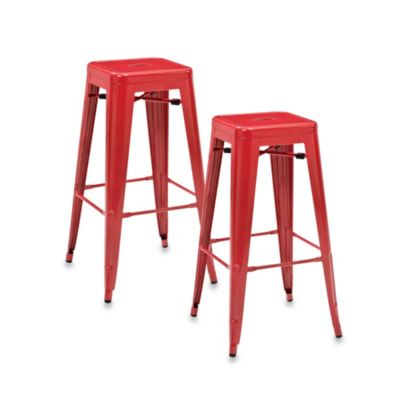 Crosley Amelia Café 30-Inch Backless Barstools in Galvanized (Set of 2)