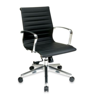 Office Star Products® Mid Back Eco Leather Chair with Arms in Black