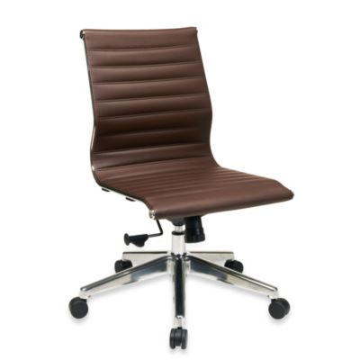 Office Star Products Mid-Back Chair Without Arms in Chocolate