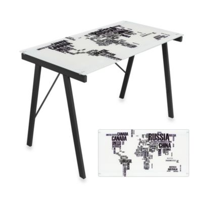 LumiSource World Map Office Desk