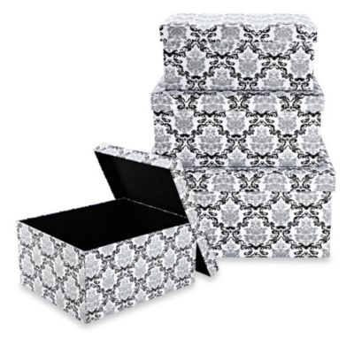 The Laura Ashley® Collection Nested Storage Boxes with Lids (Set of 3) in Delancy