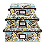 The Macbeth Collection Serena Cappuccino Nested Storage Boxes with Zipper Lids (Set of 3)
