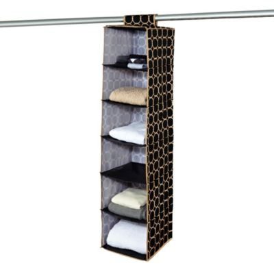 The Macbeth Collection 6-Shelf Hanging Closet Organizer in Hula Black