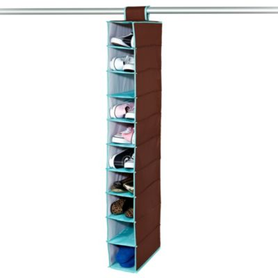 The Macbeth Collection 10-Shelf Hanging Closet Organizer in Chocolate