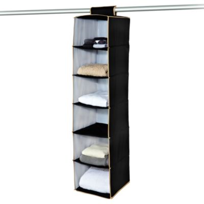 The Macbeth Collection 6-Shelf Hanging Closet Organizer in Black