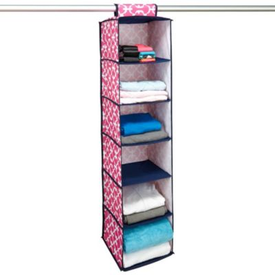 The Macbeth Collection 6-Shelf Hanging Closet Organizer in Pink Scout