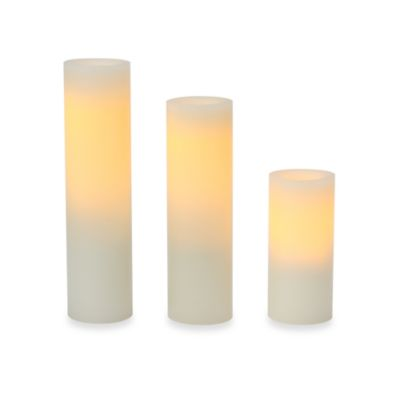 Candle Impressions® Assorted Slim Flameless Wax Pillar Candles (3-Pack)