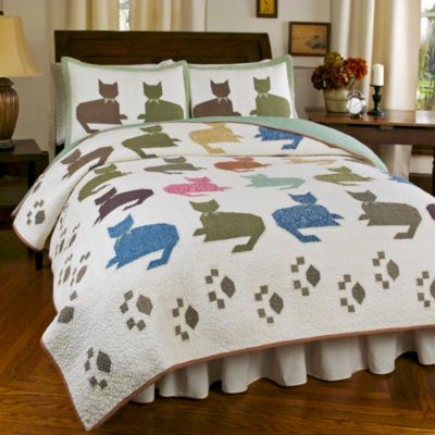 Meow King Quilt Set in Ivory