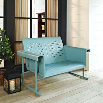 Crosley Veranda Loveseat Glider in Caribbean Blue