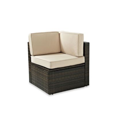Crosley Palm Harbor Collection Outdoor Wicker Corner Chair in Brown