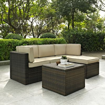 Crosley Palm Harbor Collection 5-Piece Outdoor Wicker Sectional Set