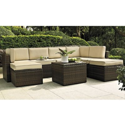 Crosley Palm Harbor 8-Piece Wicker Sectional Set