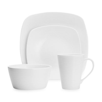 Noritake® White on White Swirl 4-Piece Square Place Setting