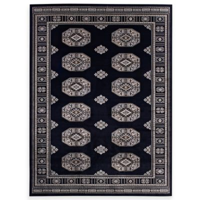 Bokhara 5-Foot 3-Inch x 7-Foot 7-Inch Rug in Black