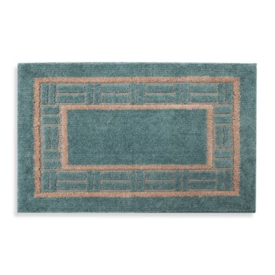 Basket Border Accent Rug in Blue/Ivory
