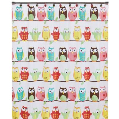 Owl PEVA 70-Inch x 72-Inch Shower Curtain
