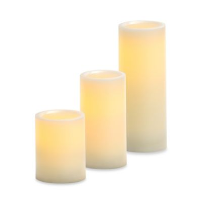Candle Impressions® 3-Inch x 4-Inch Smooth Flameless Wax Pillar Candle with Vanilla Fragrance