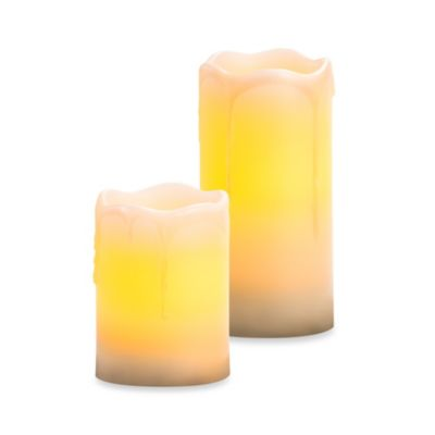 Candle Impressions 3-Inch x 4-Inch Melted top Drip Flameless Wax Pillar Candle w/Vanilla Fragrance
