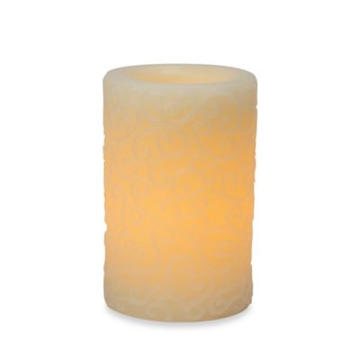 Candle Impressions® 4-Inch x 6-Inch Carved Flameless Wax Pillar Candle with Vanilla Fragrance