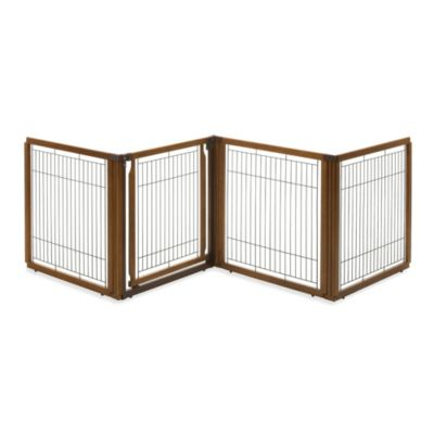 Richell 6-Panel Convertible Elite Pet Gate in Brown