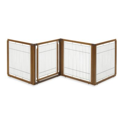 Richell 6-Panel Convertible Elite Low Pet Gate in Brown