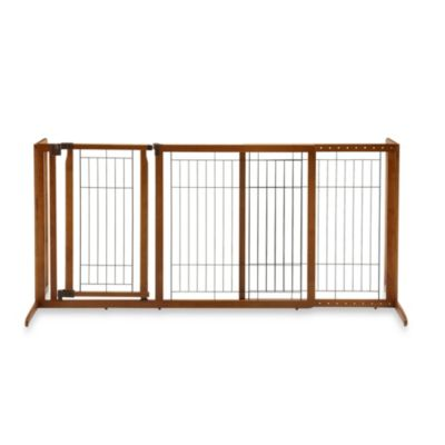 Richell Deluxe Freestanding Medium Pet Gate with Door in Brown