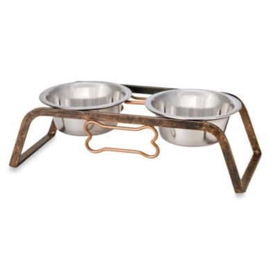 Rustic Bone Elevated 8-Cup Pet Double Diner