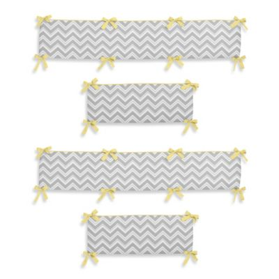 Sweet Jojo Designs Zig Zag Chevron 4-Piece Crib Bumper in Grey/Yellow