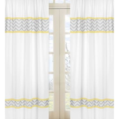 Sweet Jojo Designs Zig Zag Yellow and Grey Chevron Window Panels (Set of 2)