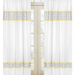 Sweet Jojo Designs Zig Zag Chevron Window Panels in Grey/Yellow (Set of 2)