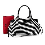 kate spade new york Stevie Diaper Bag in Black/Cream Stripe