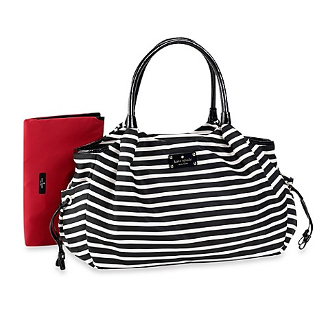 totes kate spade new york stevie diaper bag in black cream stripe from buy buy baby. Black Bedroom Furniture Sets. Home Design Ideas