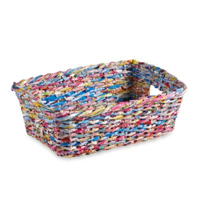 Adele Recycled Paper 14 1/2-Inch Tote Basket