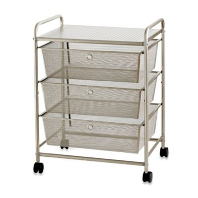 3-Drawer Wide Rolling Metal Cart