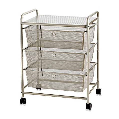 Buy 3 Drawer Wide Rolling Metal Cart From Bed Bath Amp Beyond