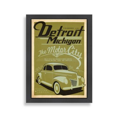 Americanflat Detroit Michigan Framed Wall Art