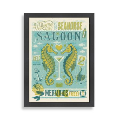 Americanflat Coastal Collection Seahorse Saloon Framed Wall Art