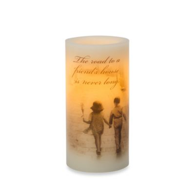 Candle Impressions® 3-Inch x 6-Inch Flameless Wax Pillar Candle with Friends Theme Decal