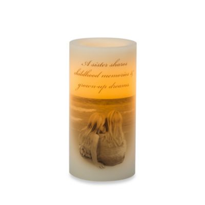Candle Impressoins® 3-Inch x 6-Inch Flameless Wax Pillar Candle with Sisters Theme Decal