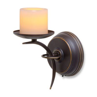 Candle Impressions® Single Arm Sconce with Flickering Wax Pillar