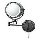 Kimball & Young Lighted 5X/1X Magnification Double-Arm Wall Mirror in Black Nickel