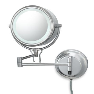 Kimball & Young Lighted 5X/1X Magnification Double-Arm Wall Mirror in Chrome
