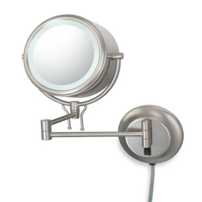 Kimball & Young Lighted 5X/1X Magnification Double-Arm Wall Mirror in Brushed Nickel