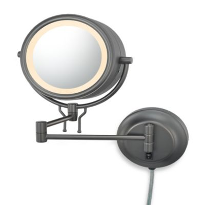 Kimball & Young Lighted 5X/1X Magnification Double-Arm Wall Mirror in Bronze
