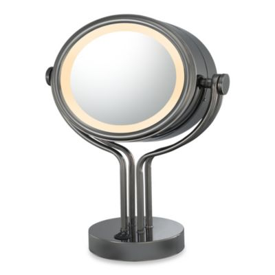 Kimball & Young Lighted 5X/1X Magnification Free Standing Vanity Mirror in Black Nickel