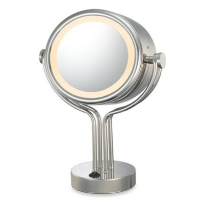 Kimball & Young Lighted 5X/1X Magnification Dual Sided Free Standing Vanity Mirror in Chrome