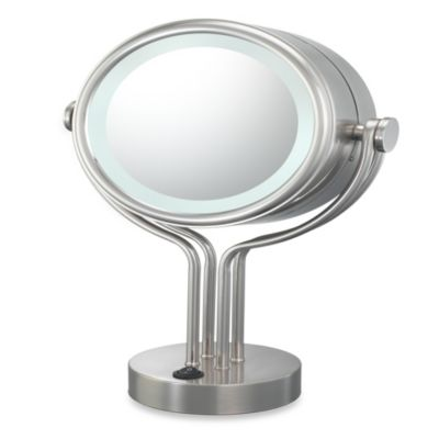 Kimball & Young Lighted 5X/1X Magnification Free Standing Vanity Mirror in Brushed Nickel