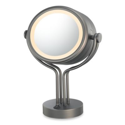 Kimball & Young Lighted 5X/1X Magnification Dual Sided Free Standing Vanity Mirror in Bronze