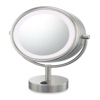 Kimball & Young LED Lighted 5X/1X Magnification Free Standing Vanity Mirror in Brushed Nickel