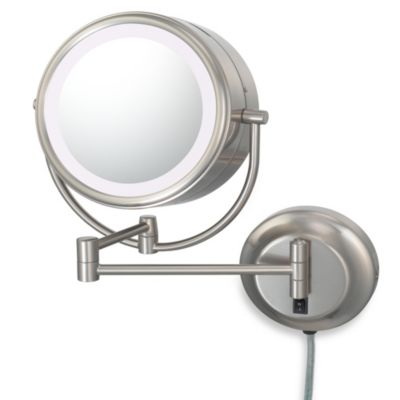 Kimball & Young Lighted 5X/1X Magnification Dual Sided Wall Mounted Mirror in Brushed Nickel